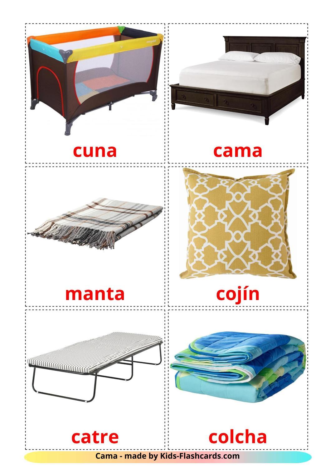 Bed - 15 Free Printable spanish Flashcards
