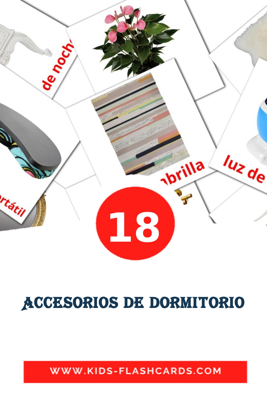 18 Accesorios de dormitorio Picture Cards for Kindergarden in spanish