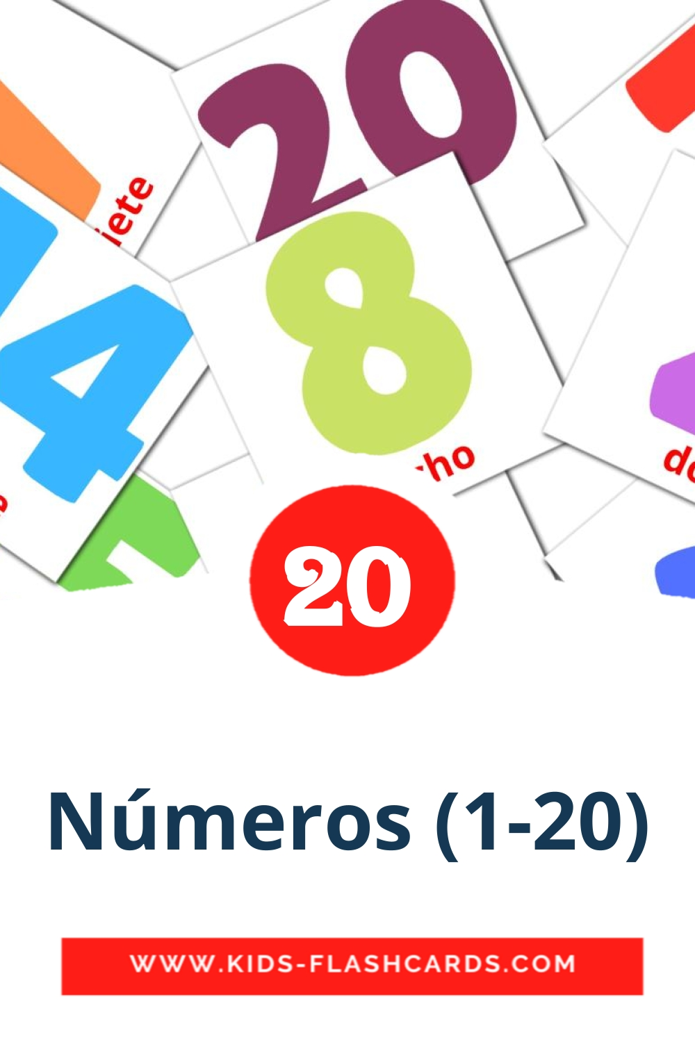 20 Números 1-20 Picture Cards for Kindergarden in spanish