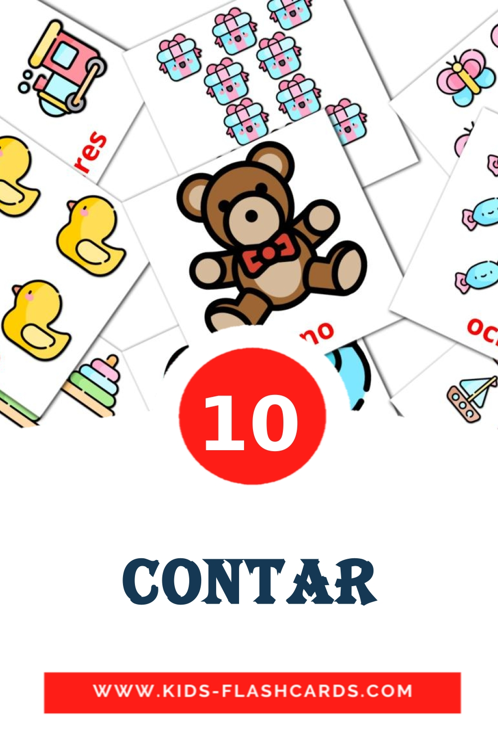 10 Contar Picture Cards for Kindergarden in spanish