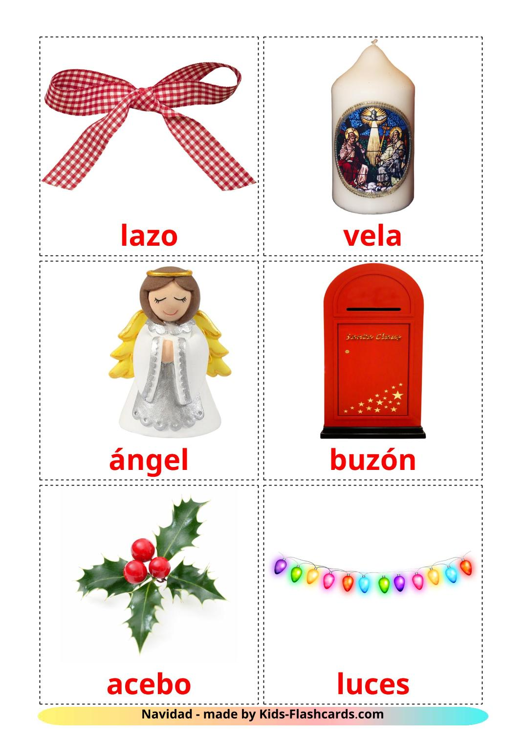 Christmas - 28 Free Printable spanish Flashcards