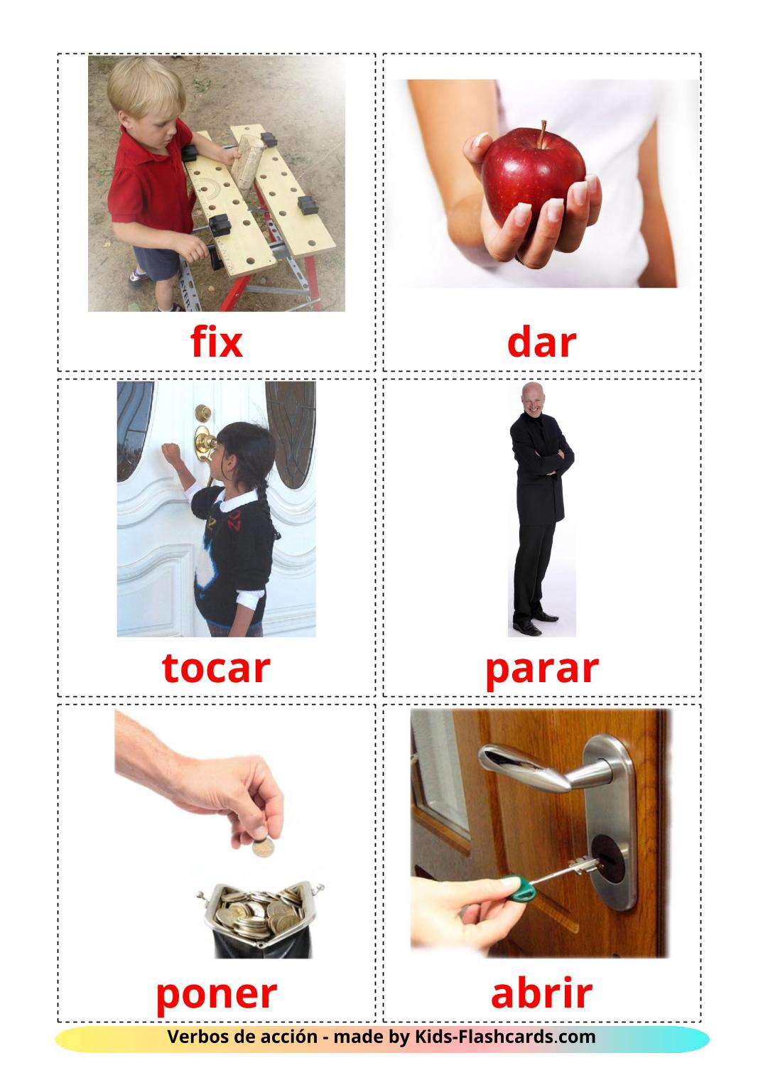 Action verbs - 55 Free Printable spanish Flashcards