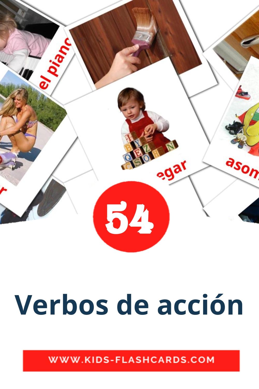55 Verbos de acción Picture Cards for Kindergarden in spanish