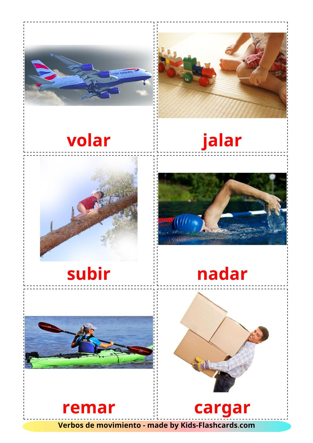 Movement verbs - 22 Free Printable spanish Flashcards