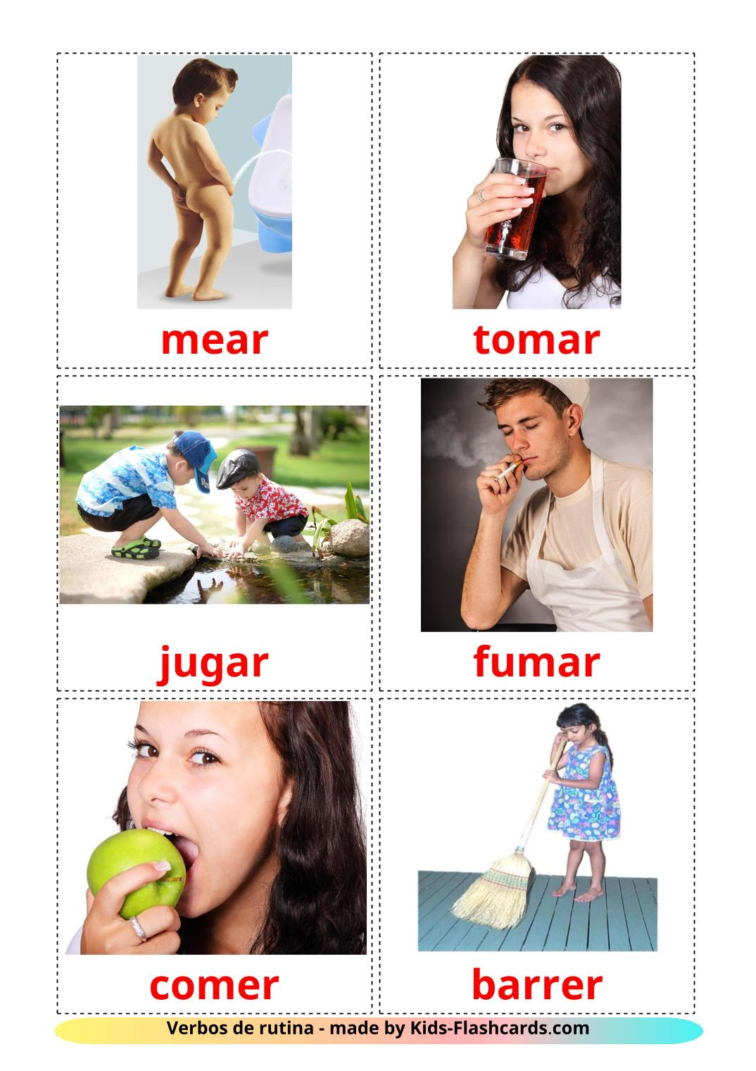 Routine verbs picture cards for Kindergarden in spanish