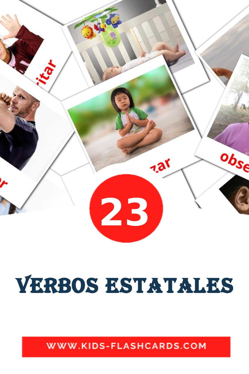 23 Verbos estatales Picture Cards for Kindergarden in spanish