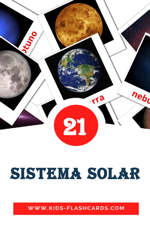 20 SISTEMA SOLAR Picture Cards for Kindergarden in spanish