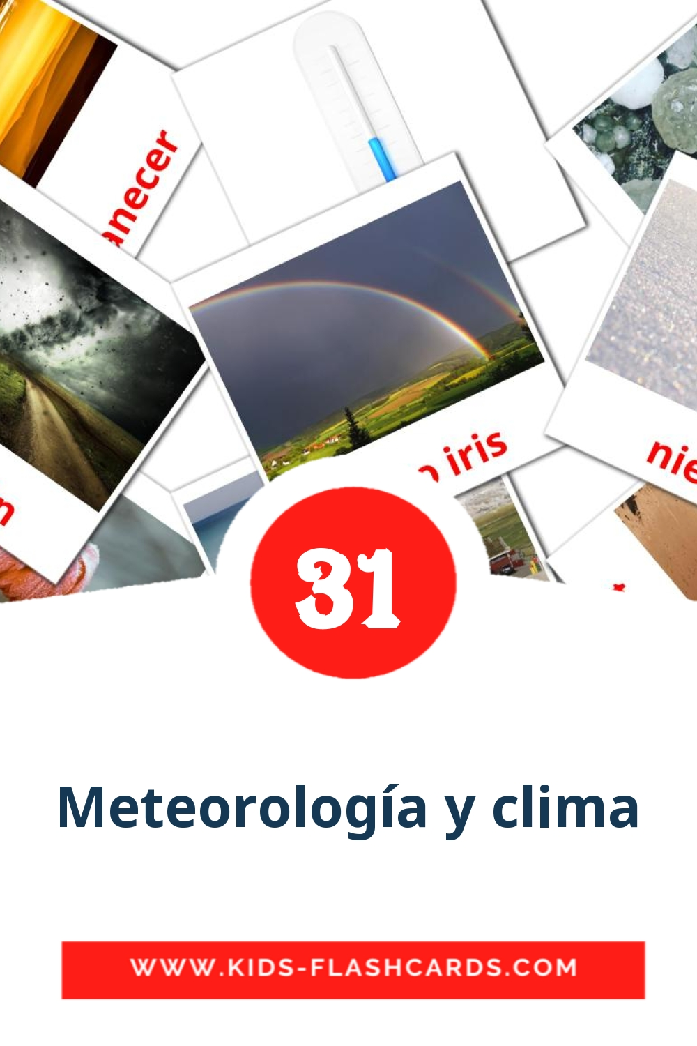 31 Clima Picture Cards for Kindergarden in spanish