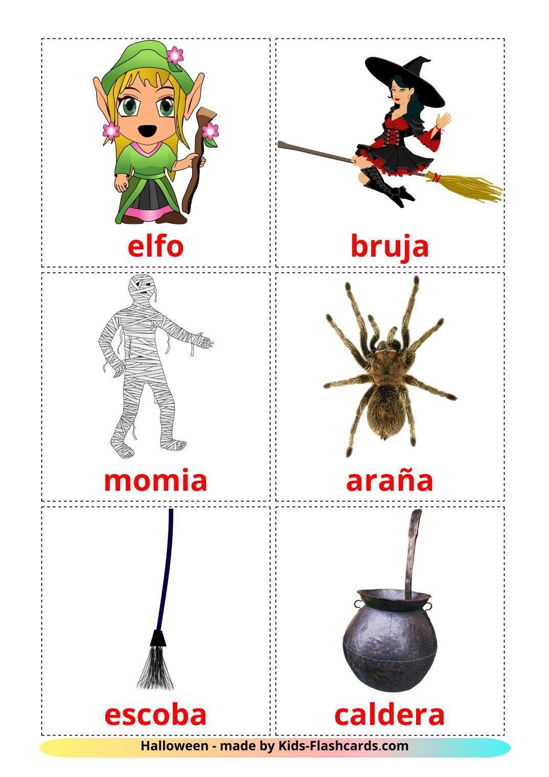 Halloween - 16 Free Printable spanish Flashcards