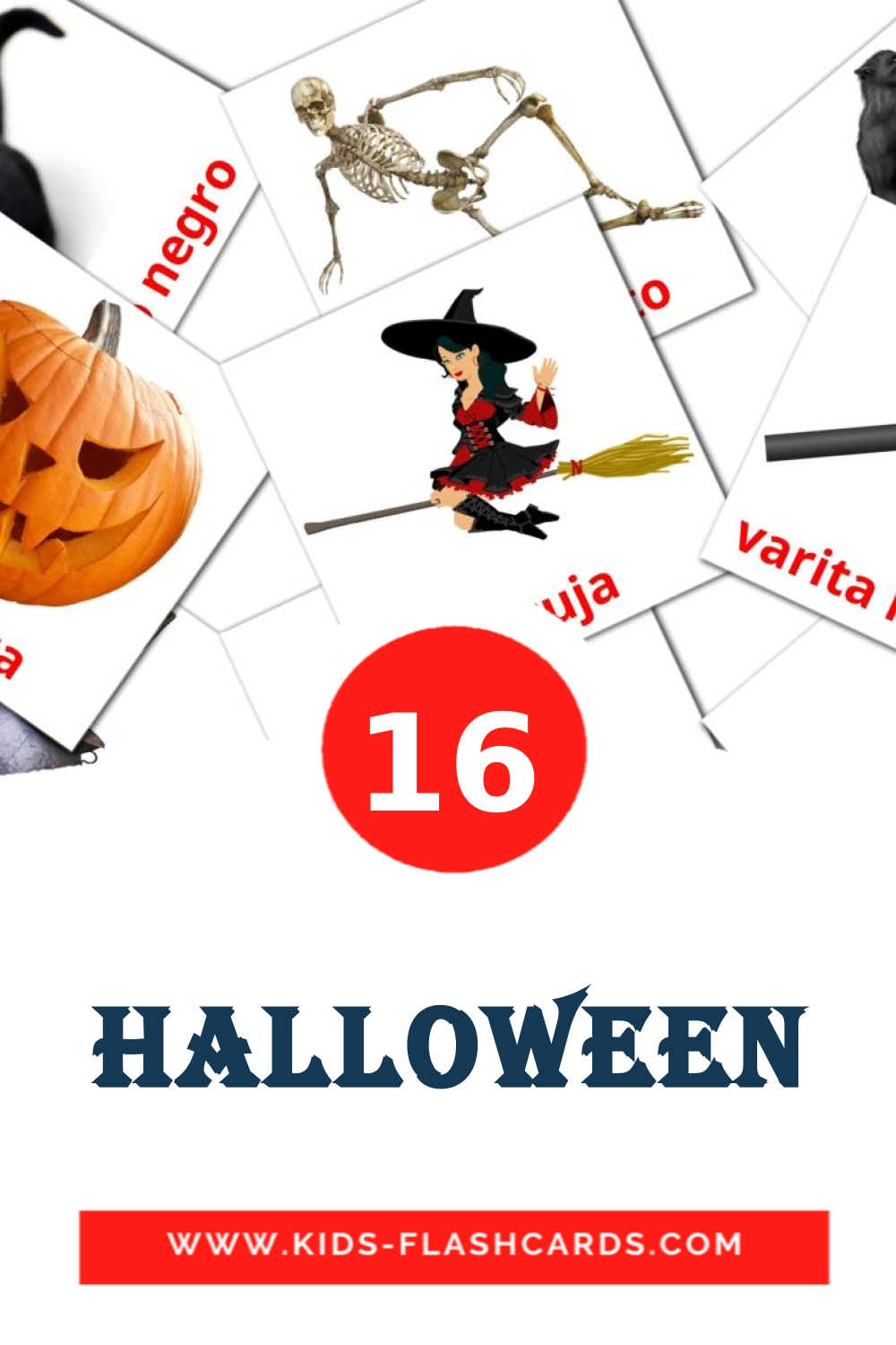 16 Halloween Picture Cards for Kindergarden in spanish