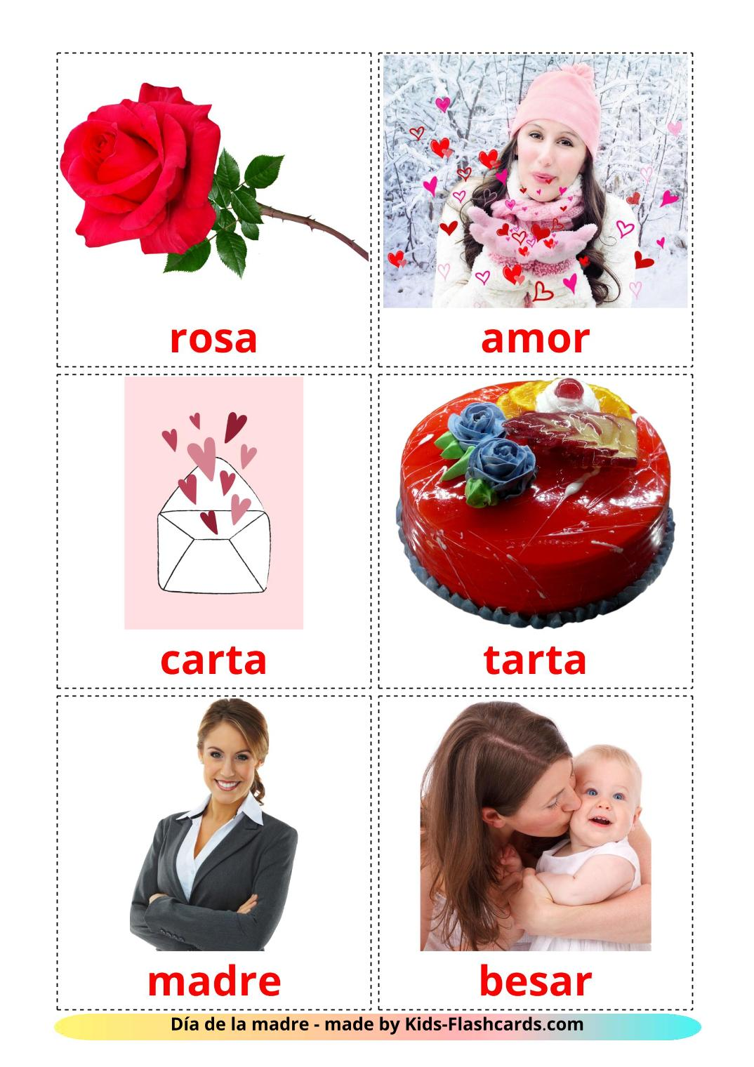 Mother's day - 25 Free Printable spanish Flashcards
