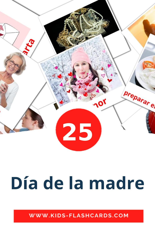 25 Día de la madre Picture Cards for Kindergarden in spanish