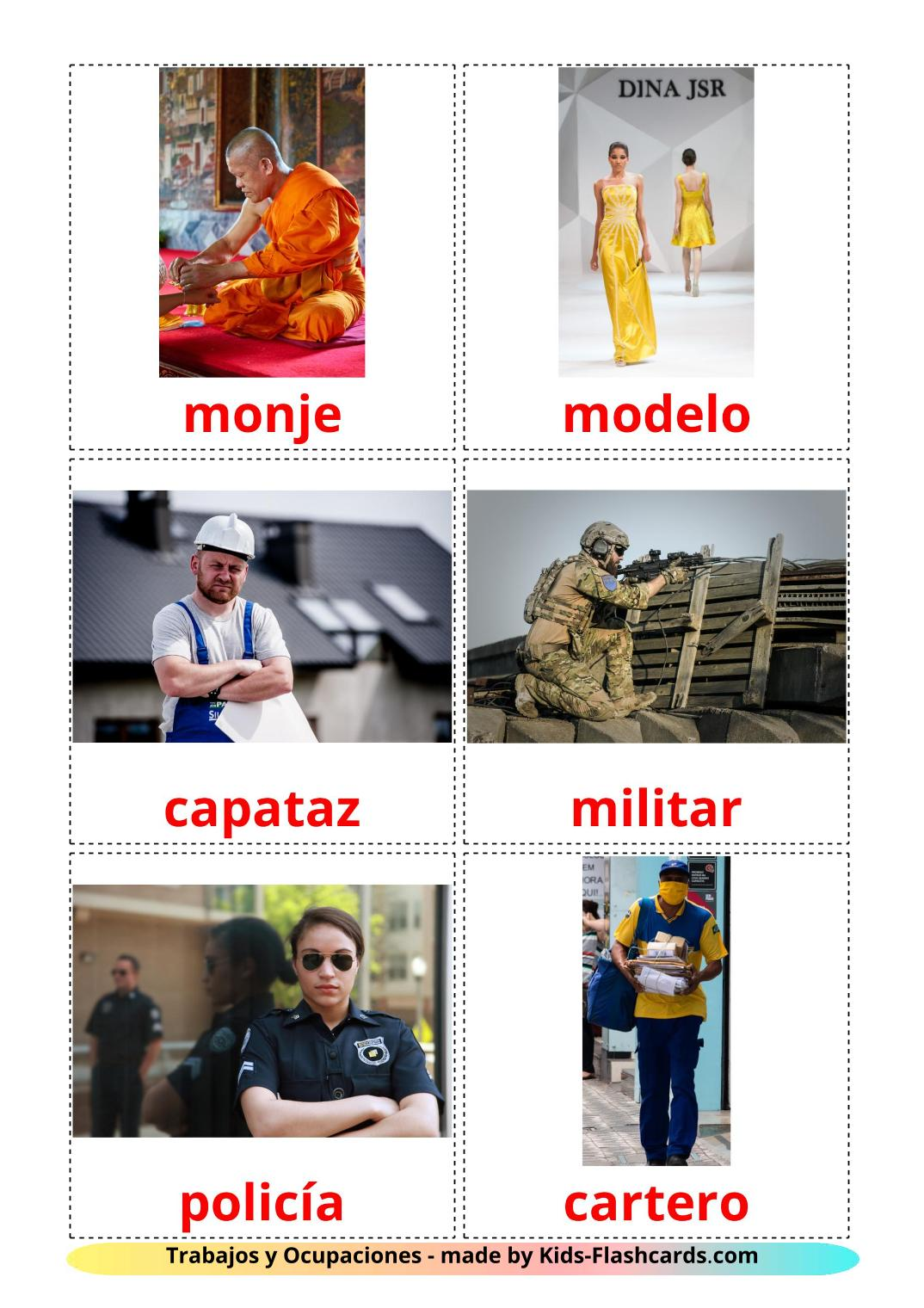 Jobs and Occupations - 51 Free Printable spanish Flashcards