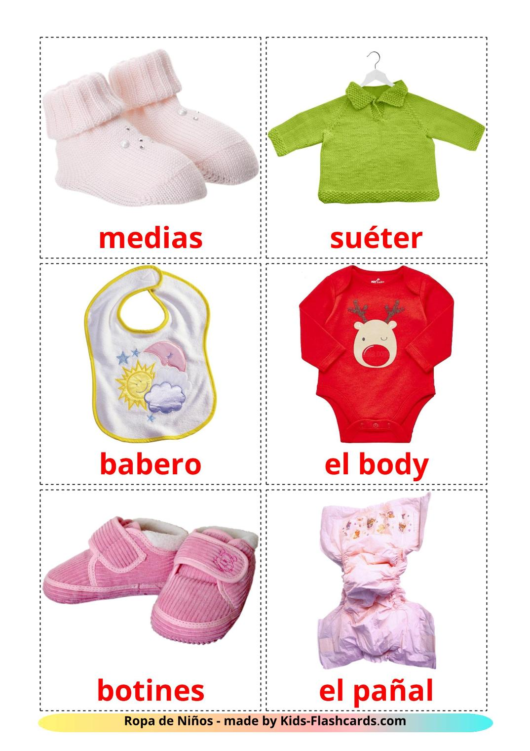 Baby clothes - 12 Free Printable spanish Flashcards