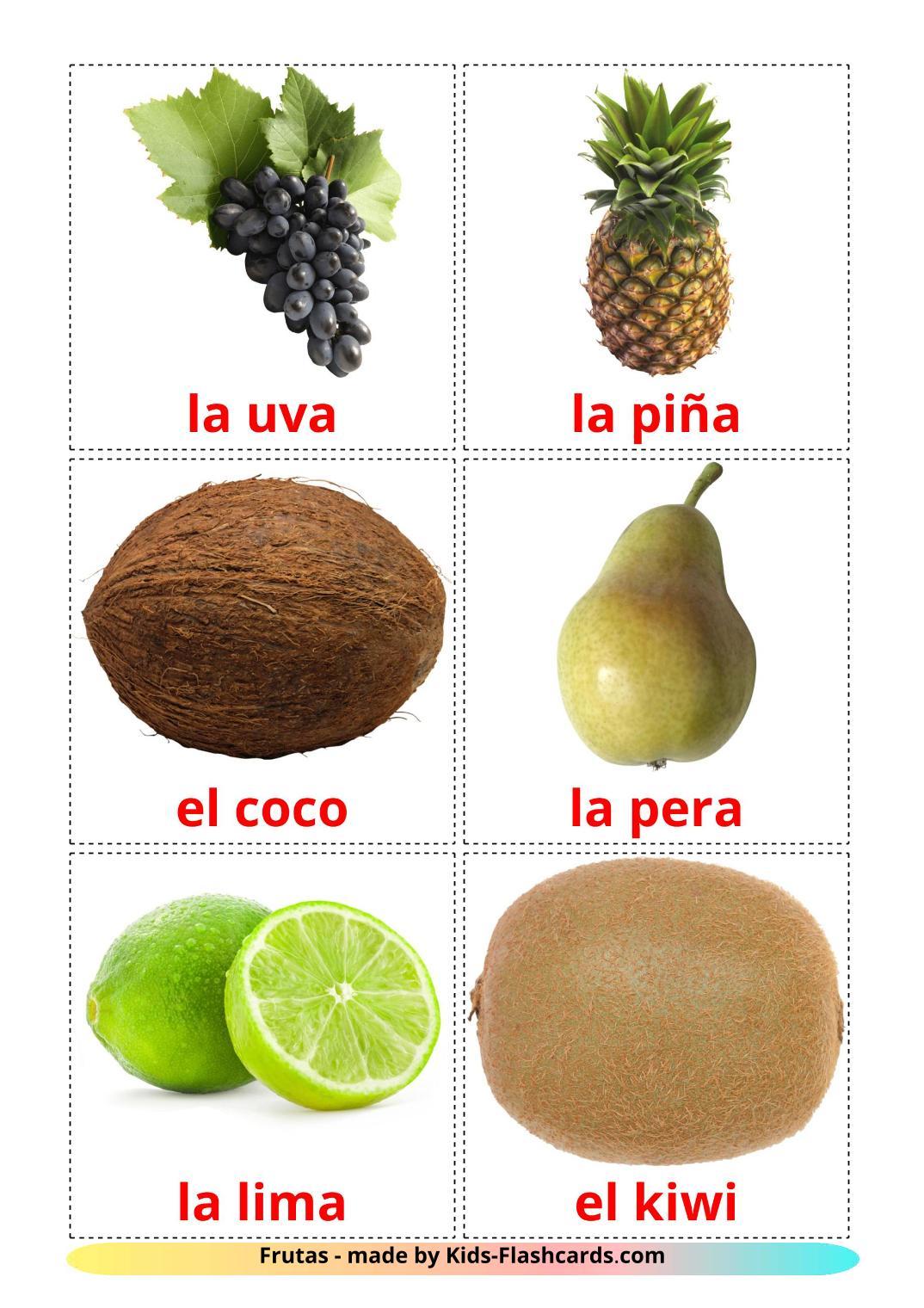 Fruits - 20 Free Printable spanish Flashcards