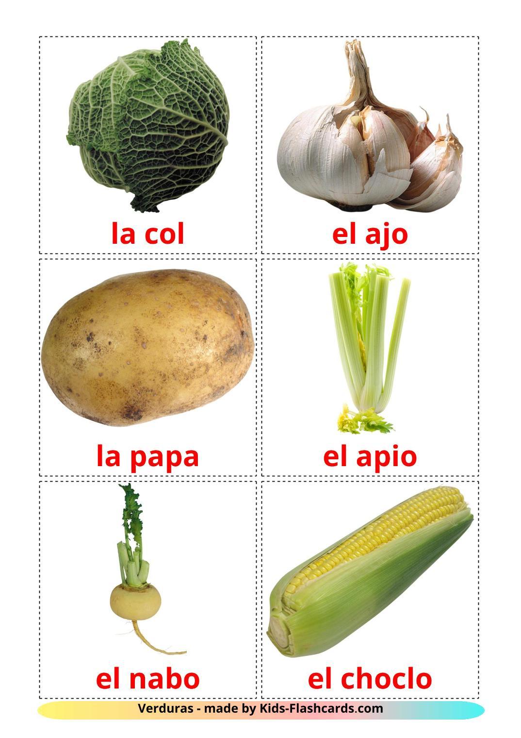 Vegetables - 29 Free Printable spanish Flashcards