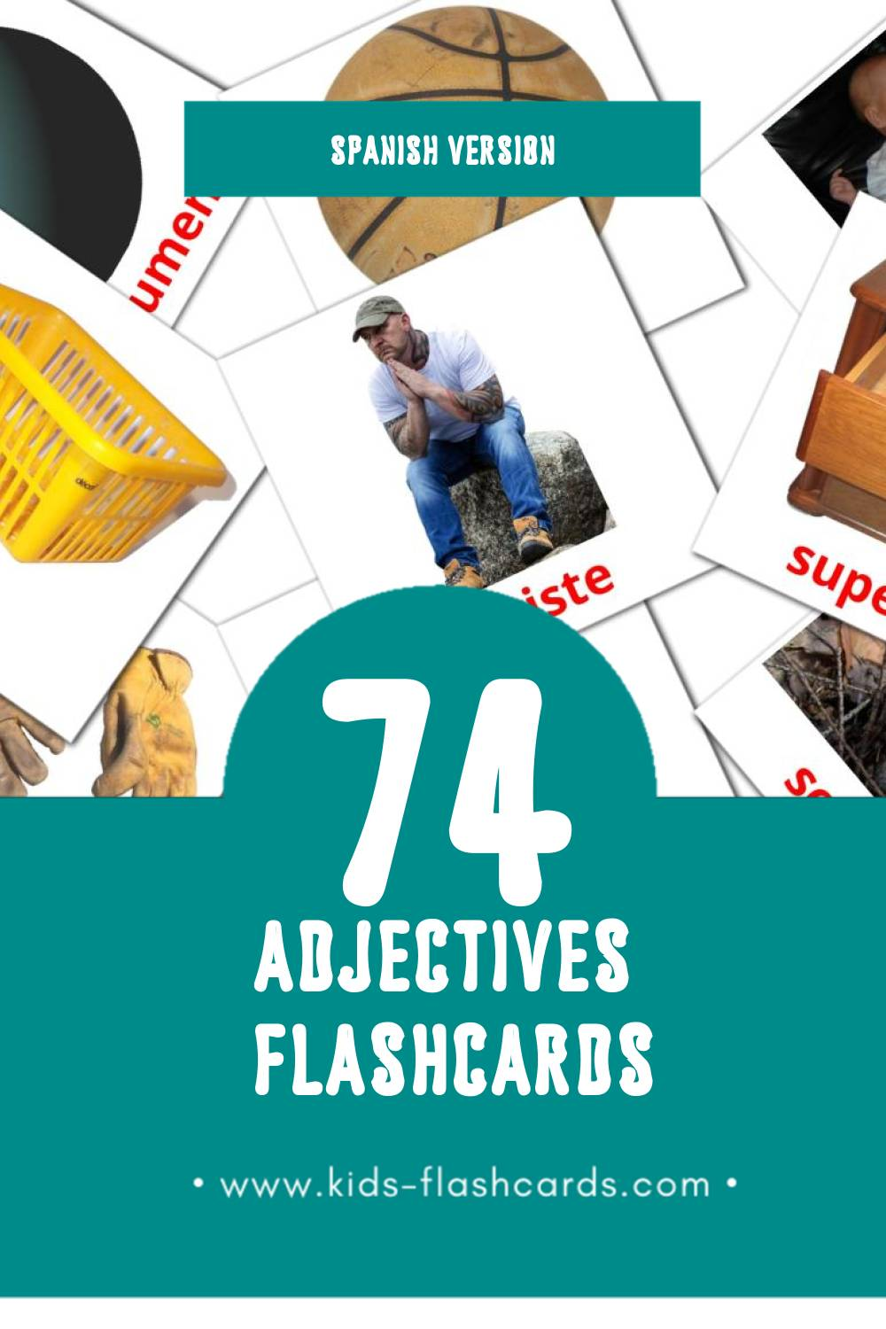 Visual Adjetivos  Flashcards for Toddlers (74 cards in Spanish)