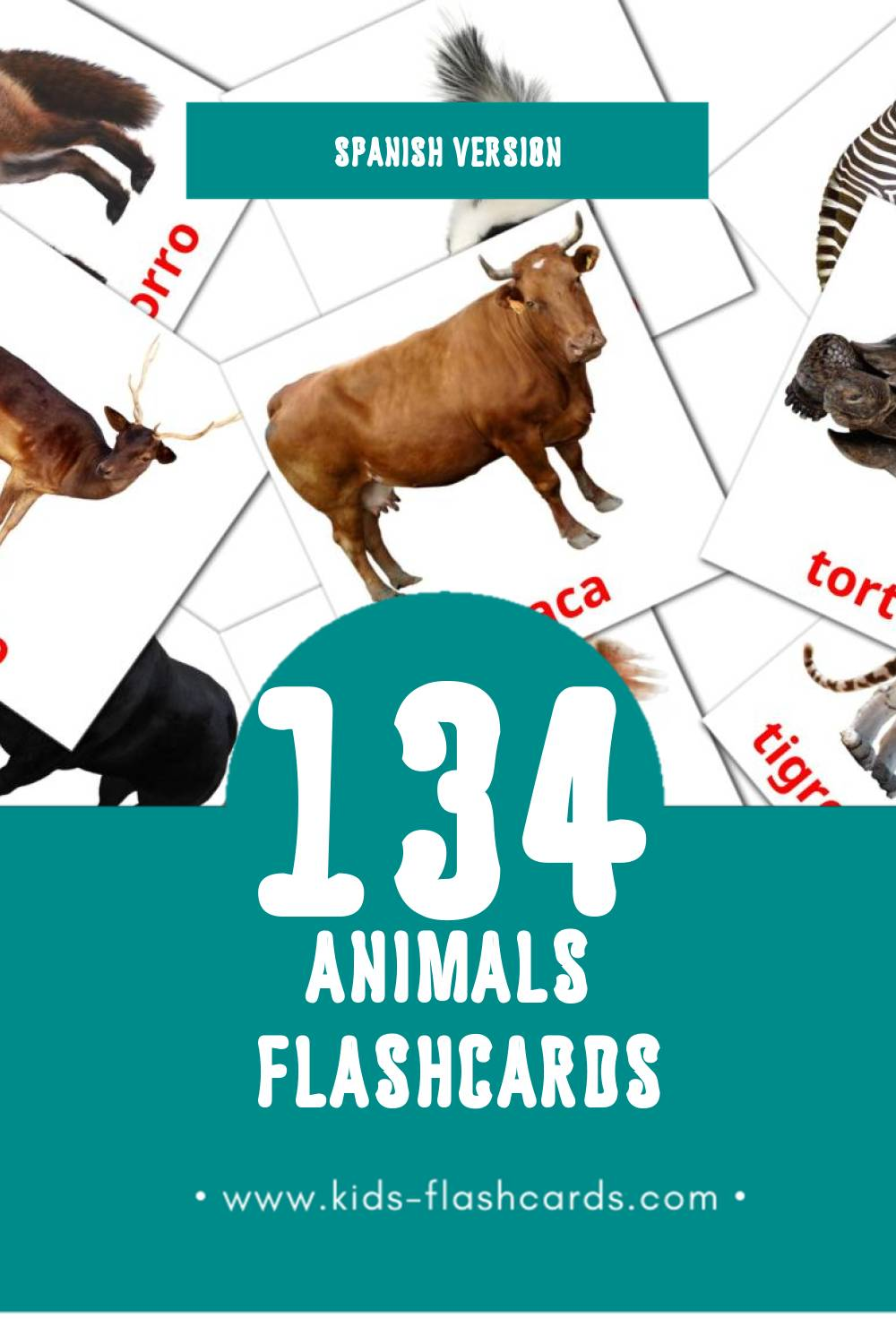 Visual Animales Flashcards for Toddlers (134 cards in Spanish)