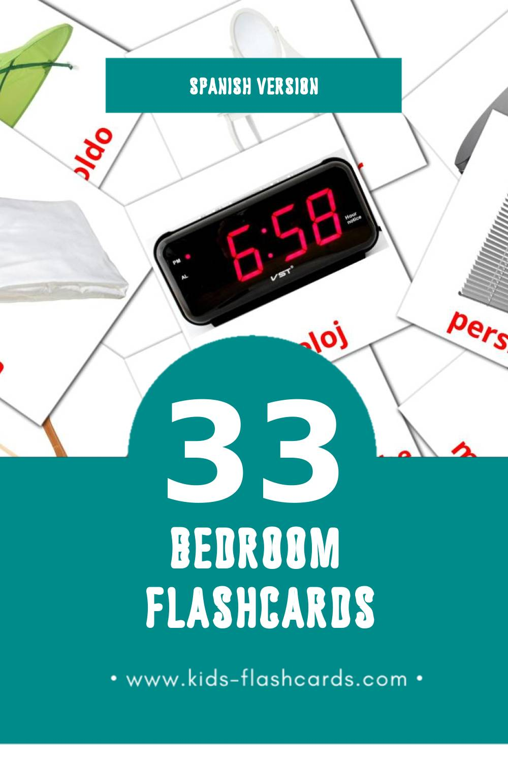 Visual Dormitorio Flashcards for Toddlers (33 cards in Spanish)