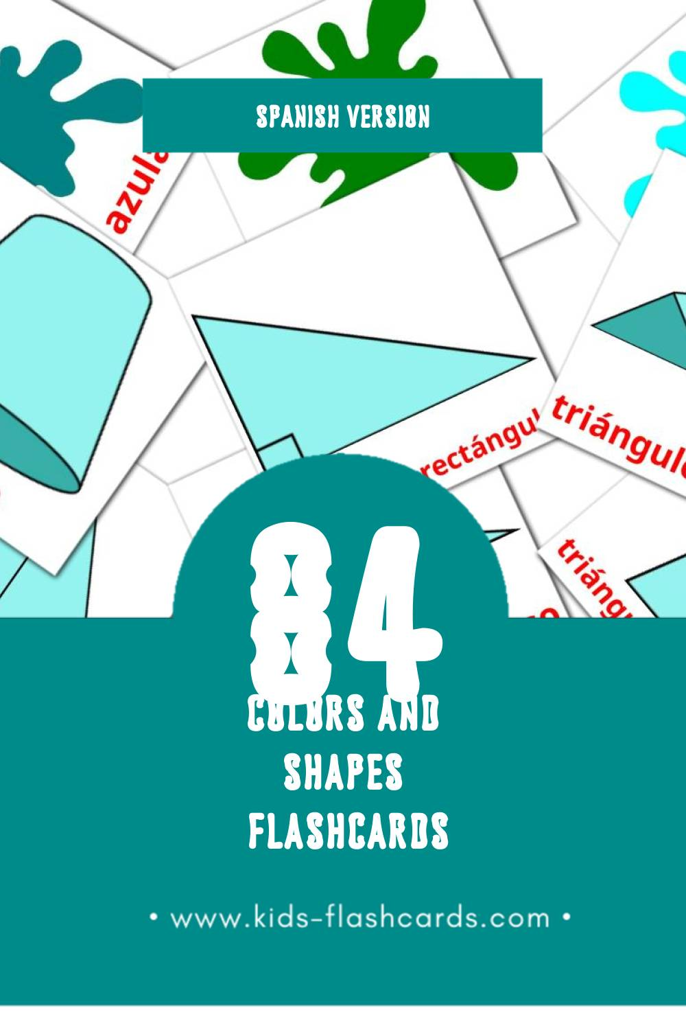 Visual Colores y formas Flashcards for Toddlers (84 cards in Spanish)
