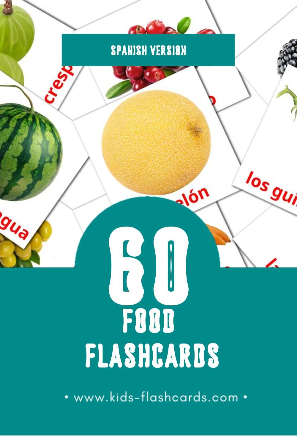 Visual La comida Flashcards for Toddlers (60 cards in Spanish)