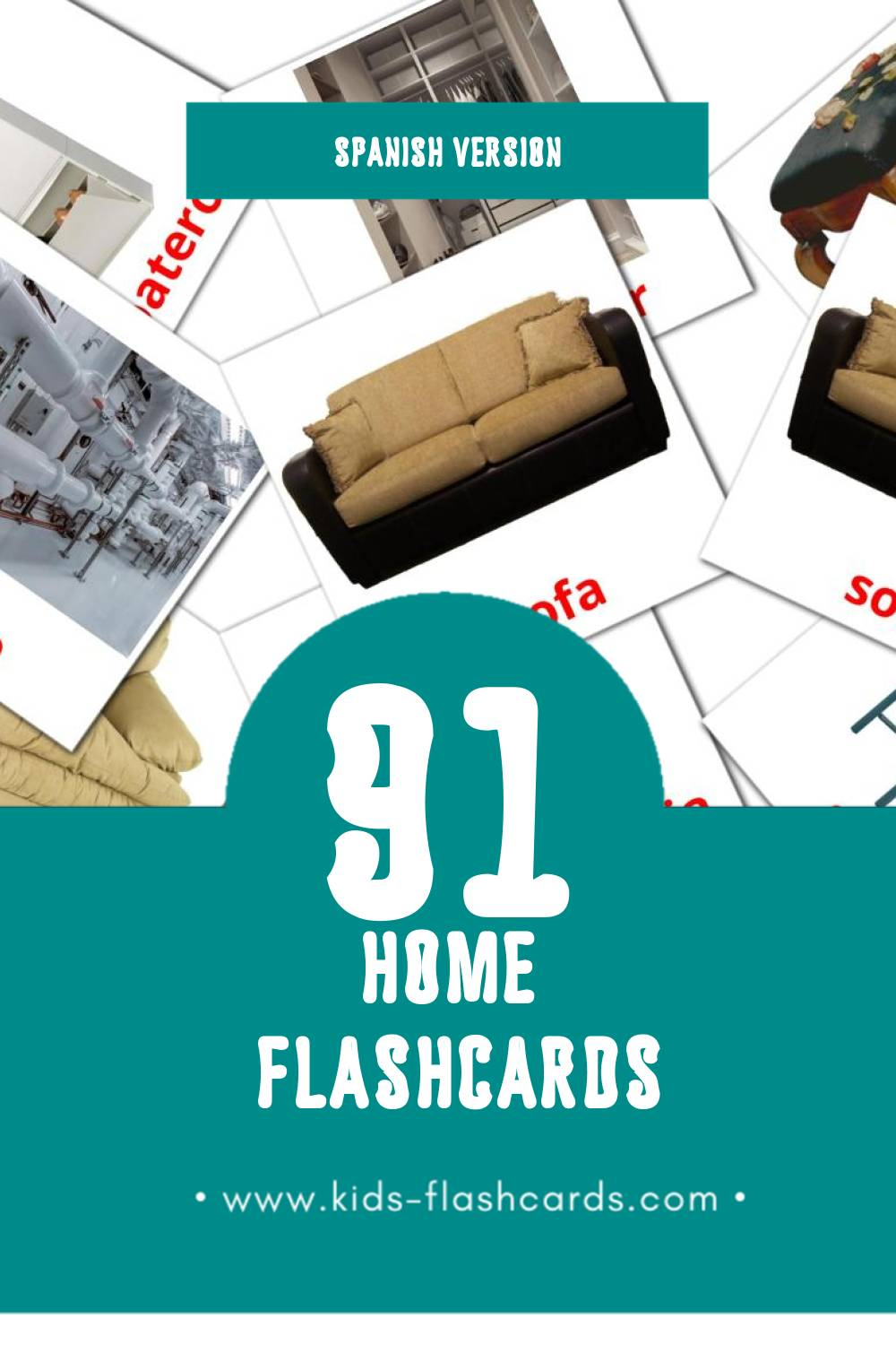 Visual  el hogar Flashcards for Toddlers (74 cards in Spanish)
