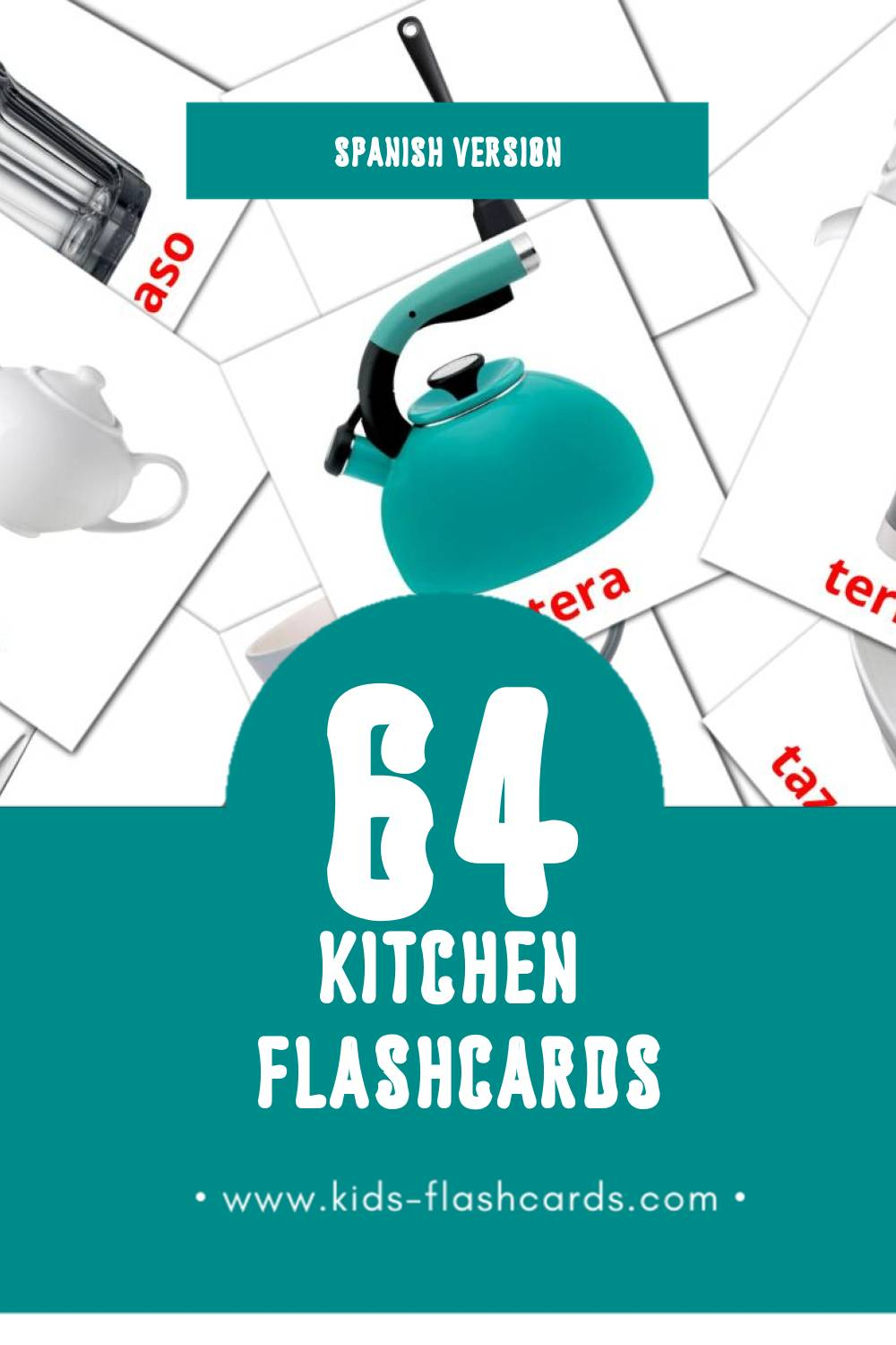 Visual cocina Flashcards for Toddlers (64 cards in Spanish)