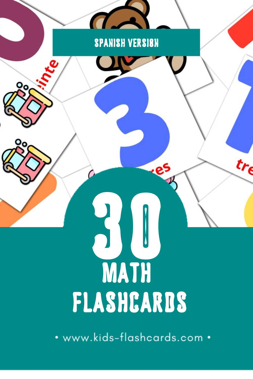Visual Matematicas Flashcards for Toddlers (30 cards in Spanish)