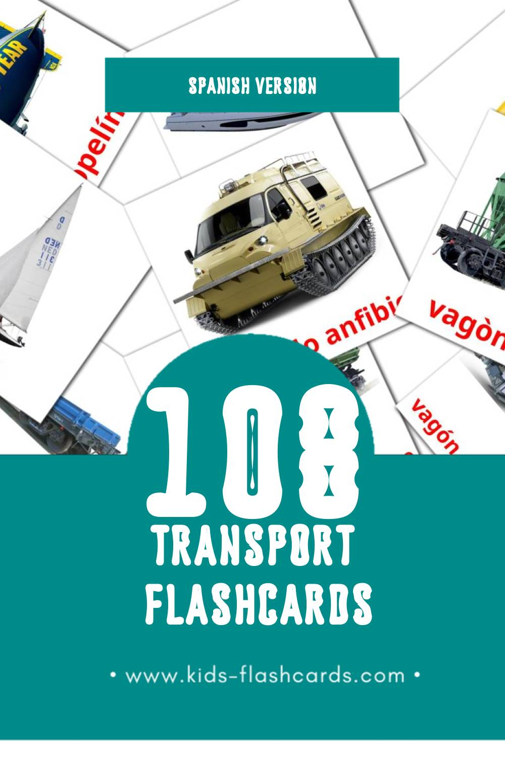 Visual Transportes Flashcards for Toddlers (108 cards in Spanish)