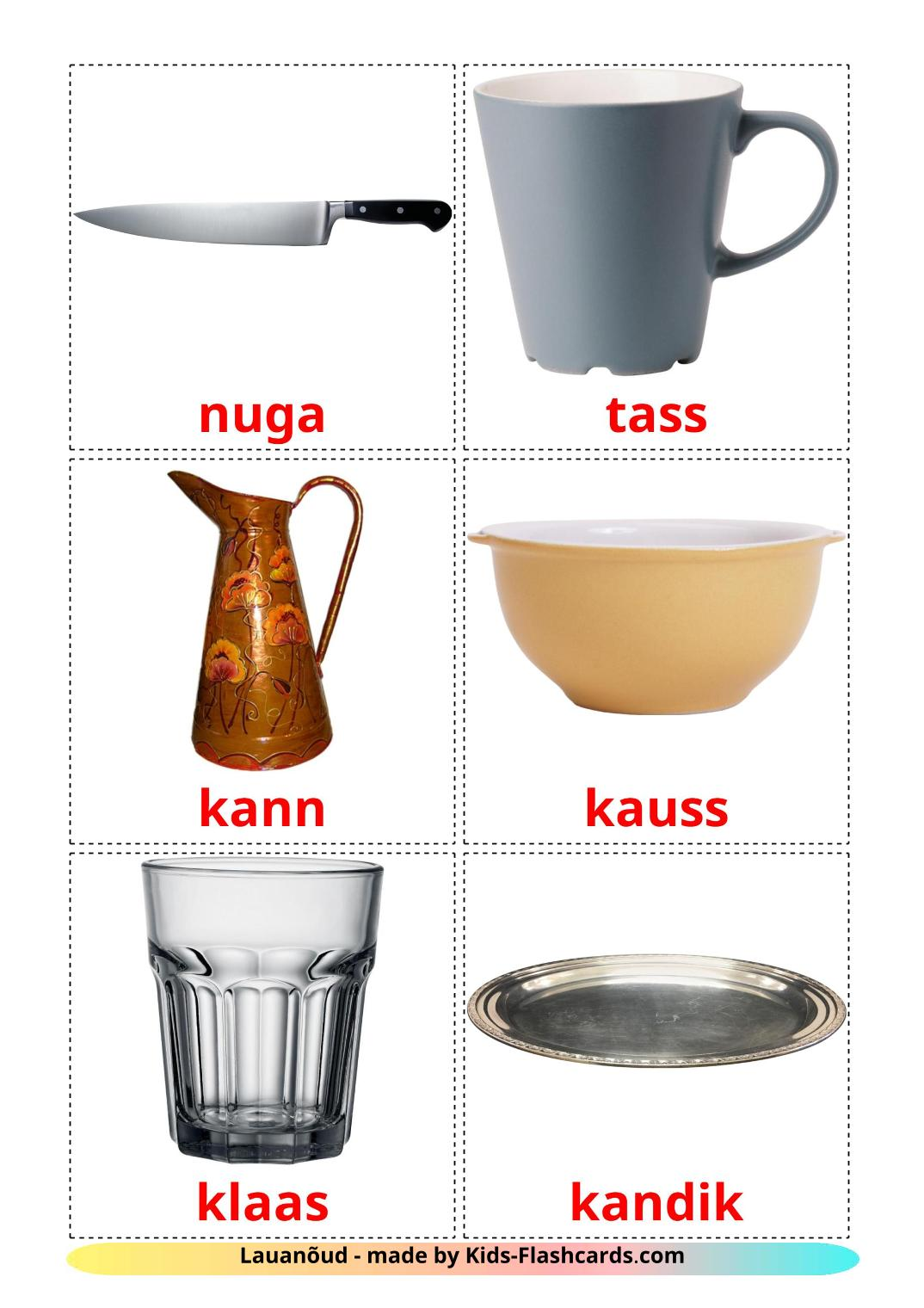 Crockery and cutlery - 29 Free Printable estonian Flashcards