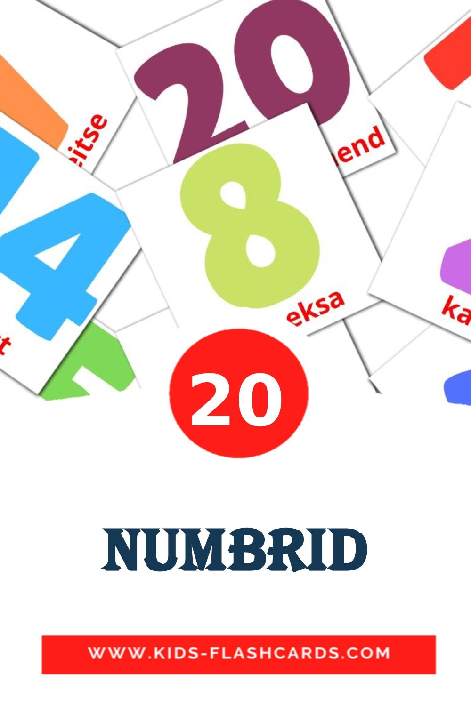 20 numbrid Picture Cards for Kindergarden in estonian