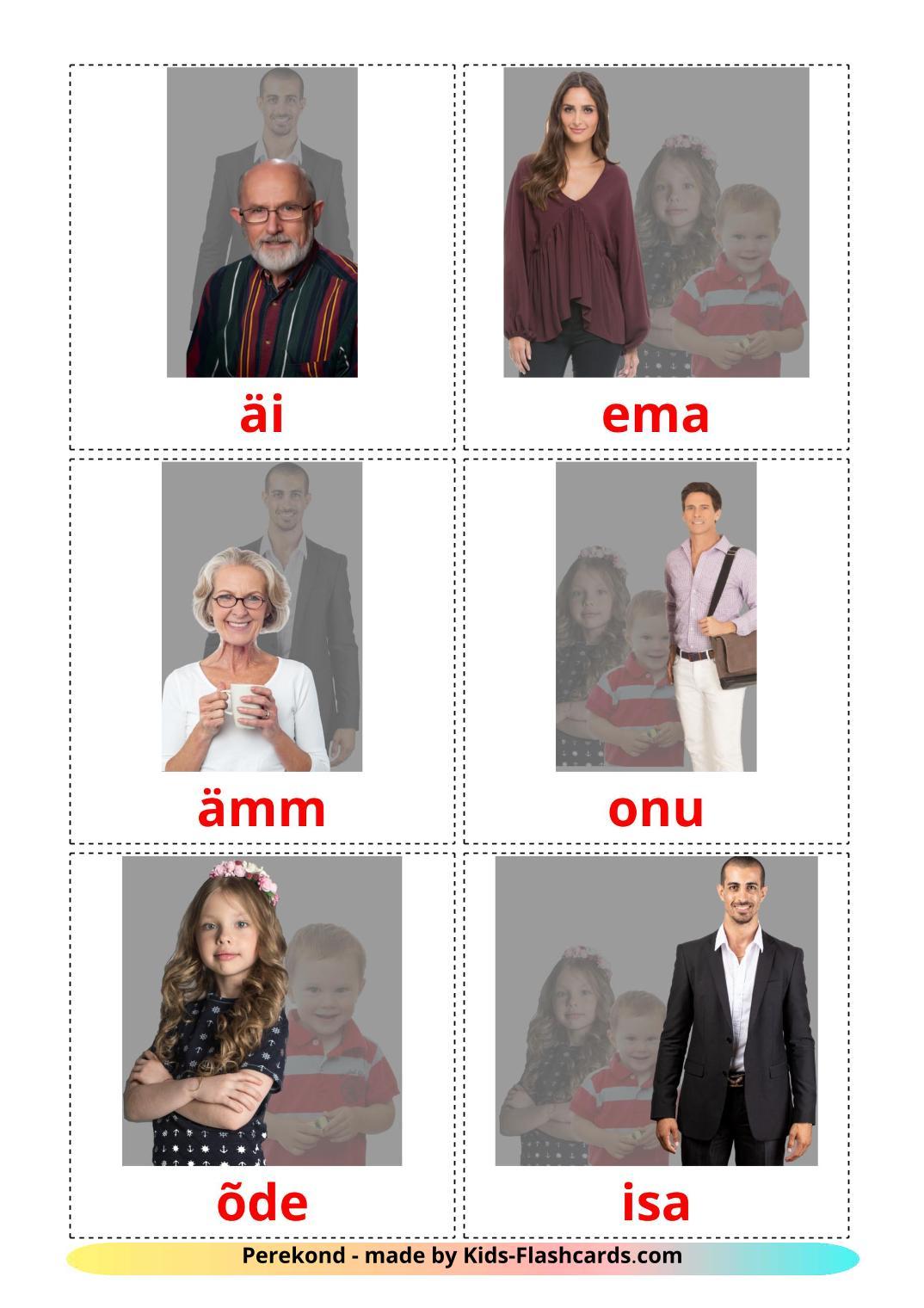 Family members - 32 Free Printable estonian Flashcards