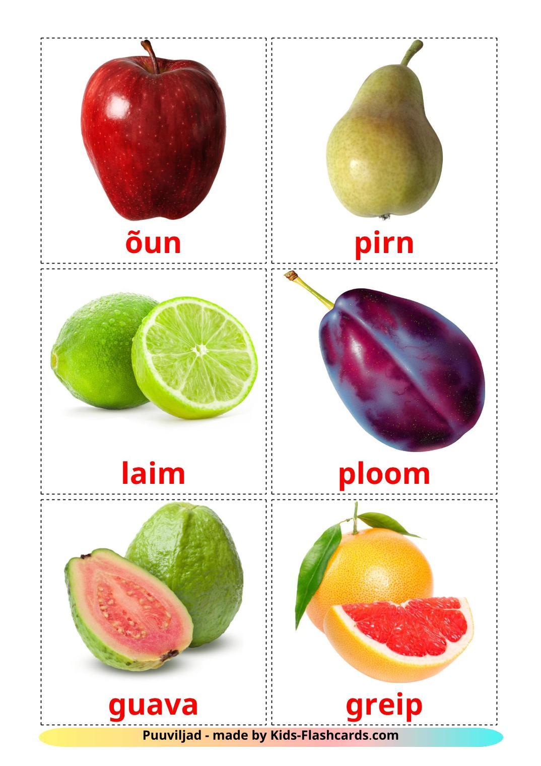 Fruits - 20 Free Printable estonian Flashcards