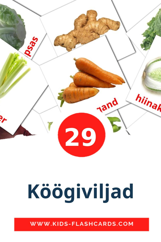 29 Köögiviljad Picture Cards for Kindergarden in estonian