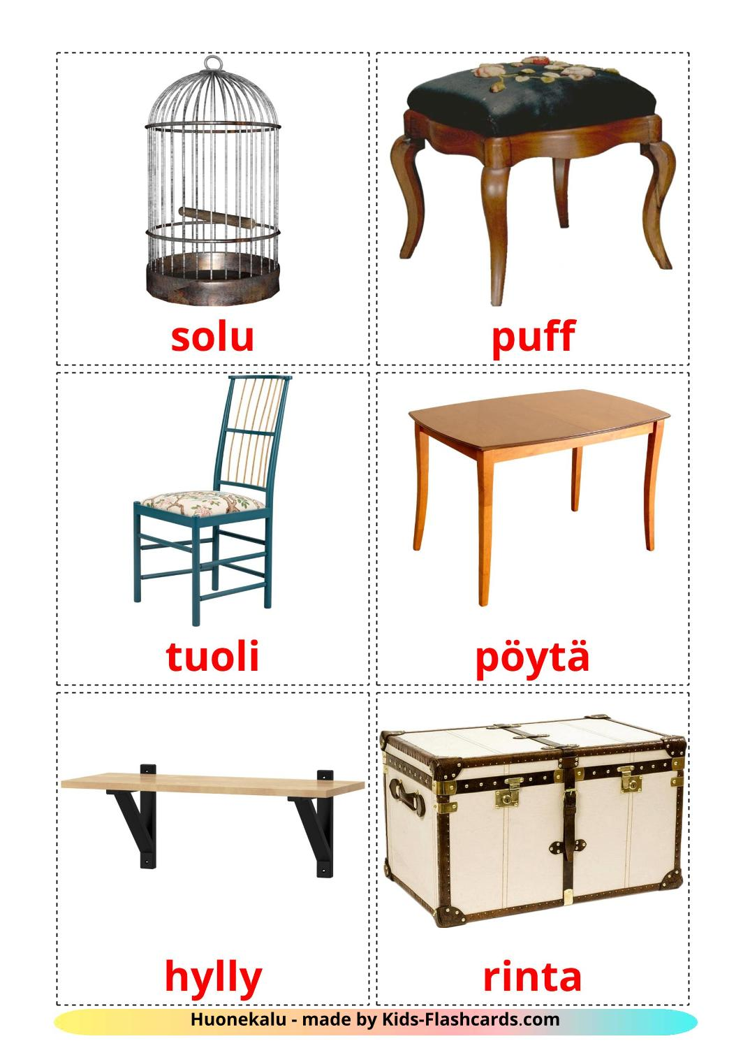 Furniture picture cards for Kindergarden in finnish
