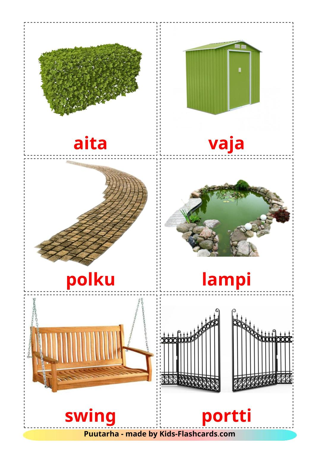 Garden - 18 Free Printable finnish Flashcards