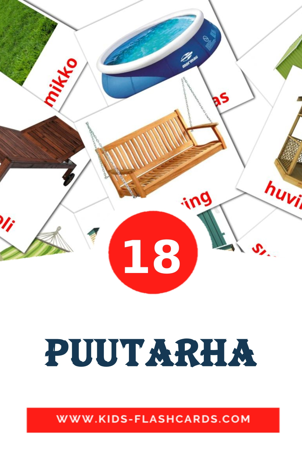 18 Puutarha Picture Cards for Kindergarden in finnish