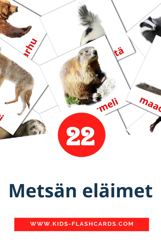 22 Metsän eläimet Picture Cards for Kindergarden in finnish