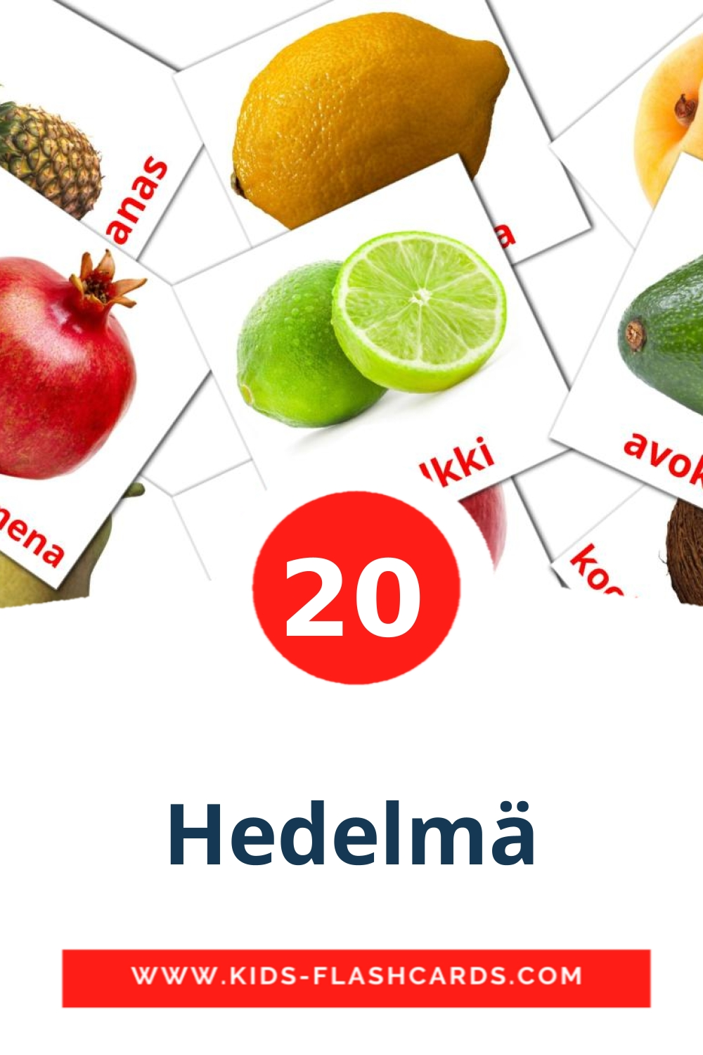 20 Hedelmä Picture Cards for Kindergarden in finnish