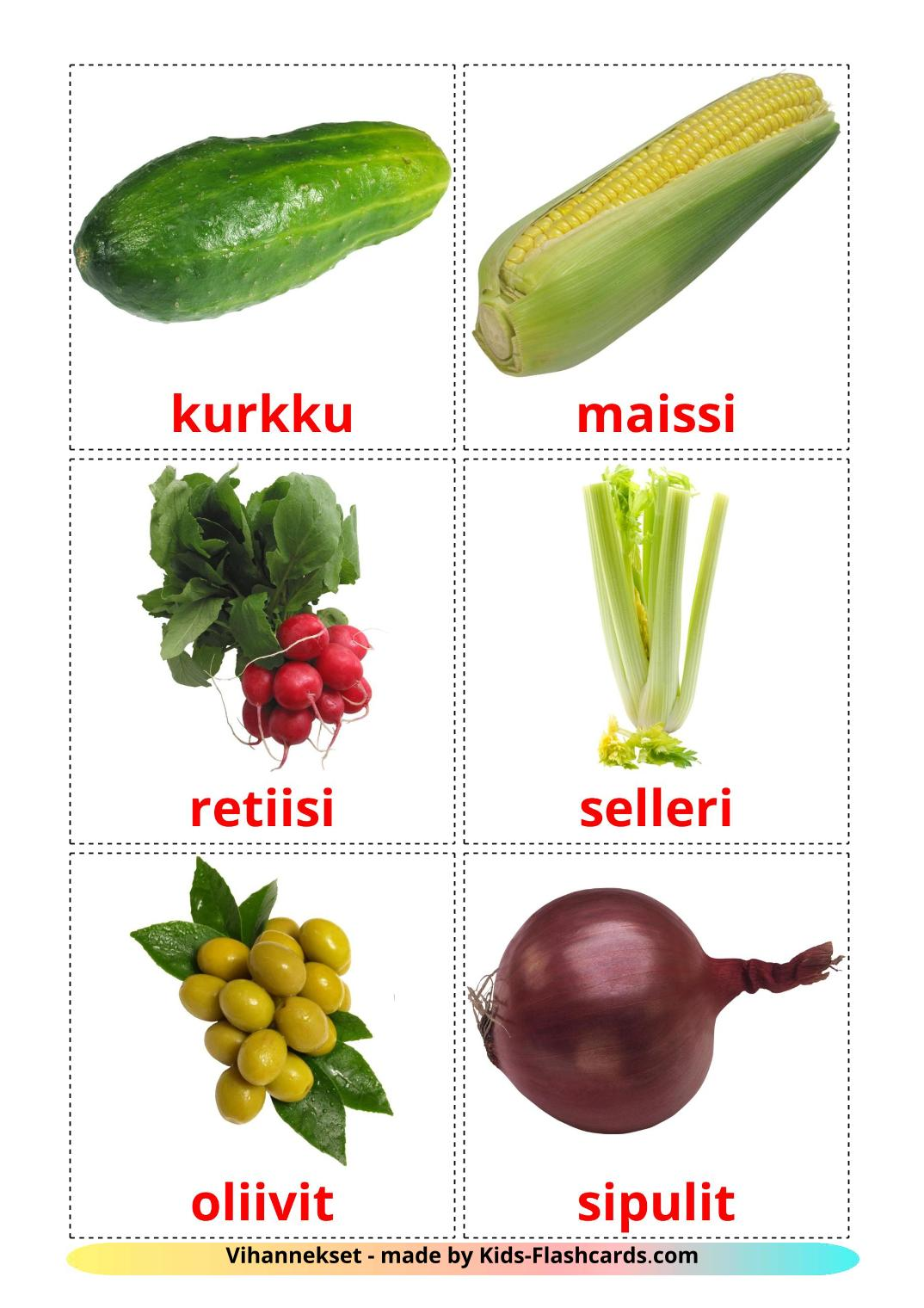 Vegetables - 29 Free Printable finnish Flashcards