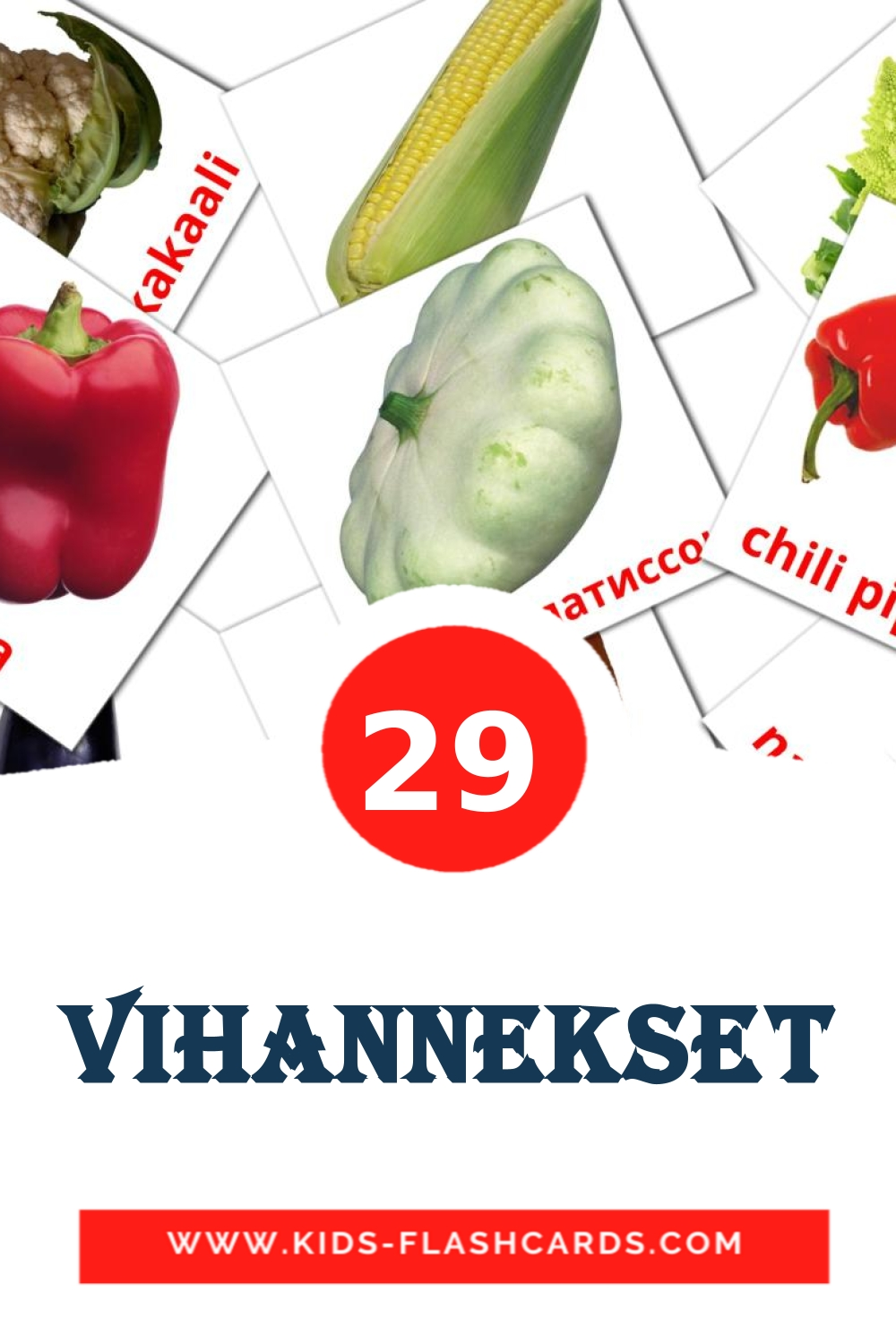 29 Vihannekset Picture Cards for Kindergarden in finnish