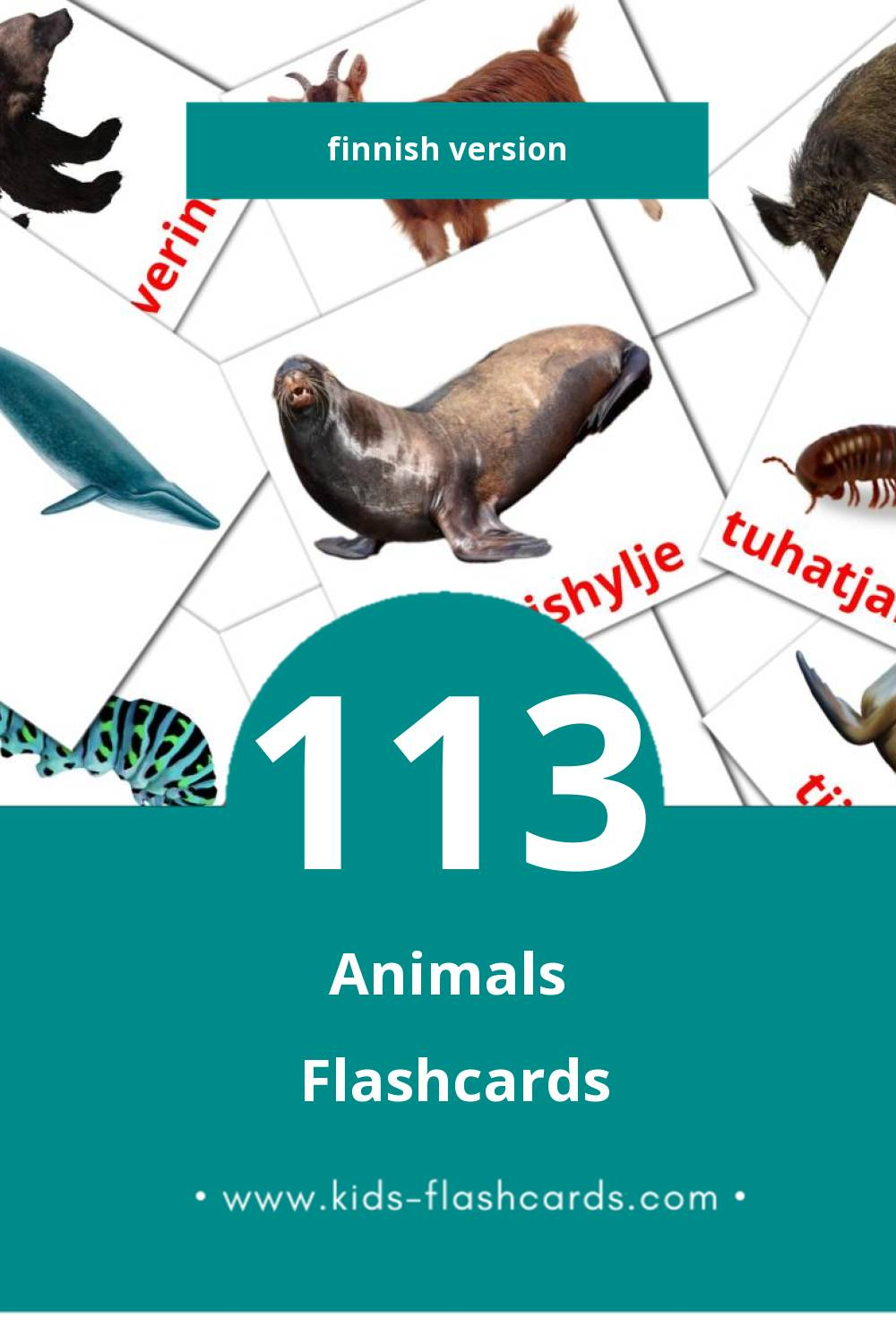 Visual Eläimet Flashcards for Toddlers (25 cards in Finnish)