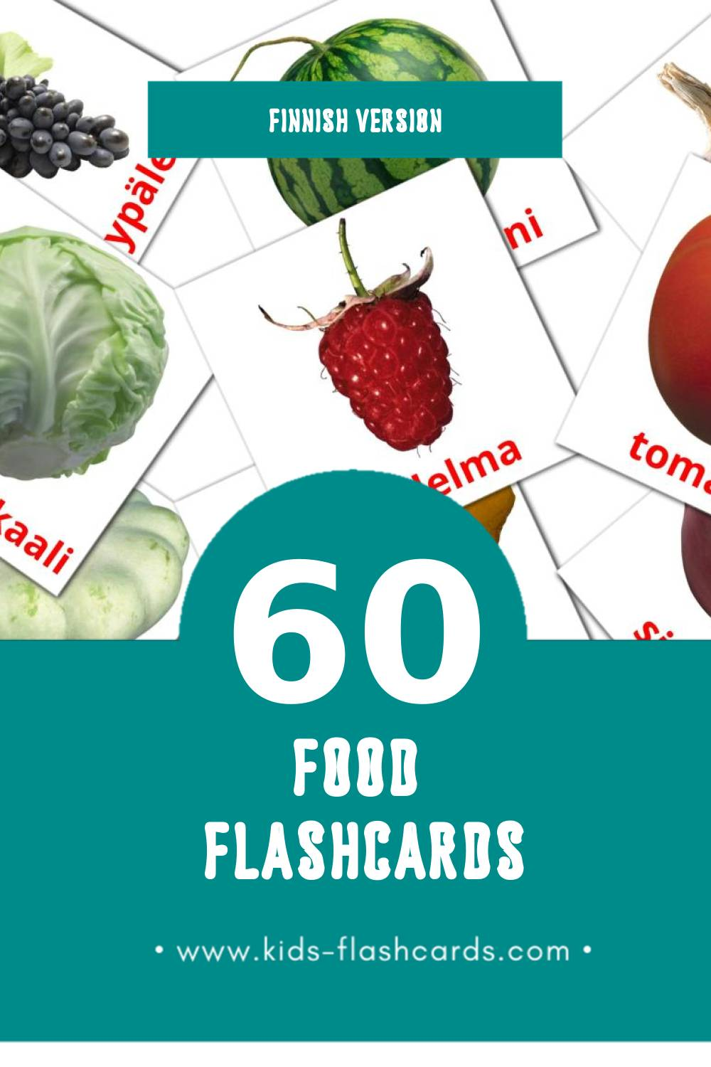 Visual ruoka  Flashcards for Toddlers (60 cards in Finnish)