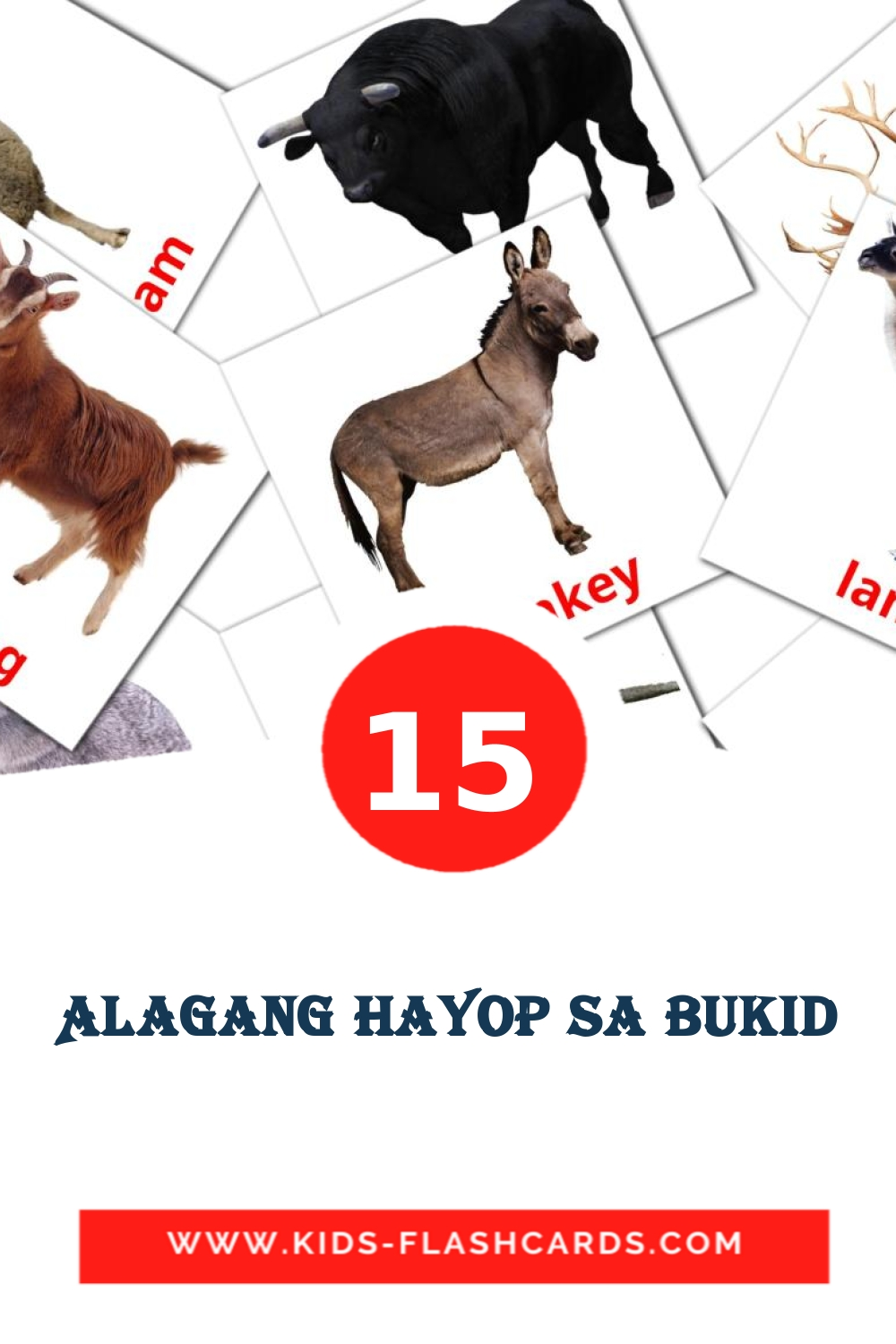 15 Alagang Hayop sa Bukid Picture Cards for Kindergarden in filipino