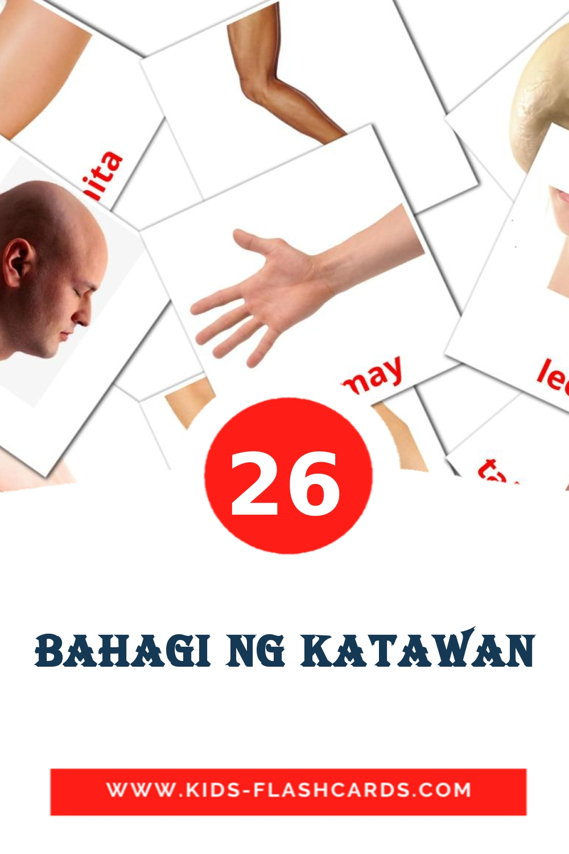 26 bahagi ng katawan Picture Cards for Kindergarden in filipino