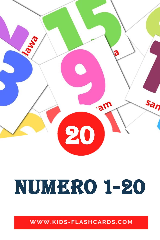 20 Numero 1-20 Picture Cards for Kindergarden in filipino