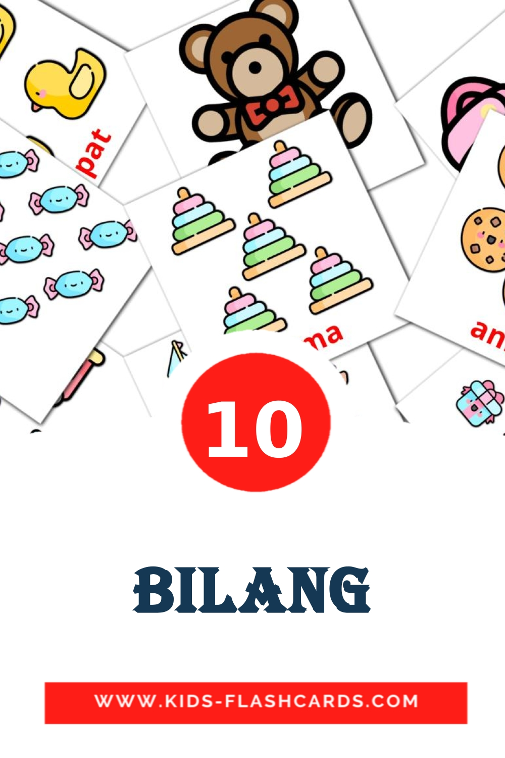 10 Bilang Picture Cards for Kindergarden in filipino