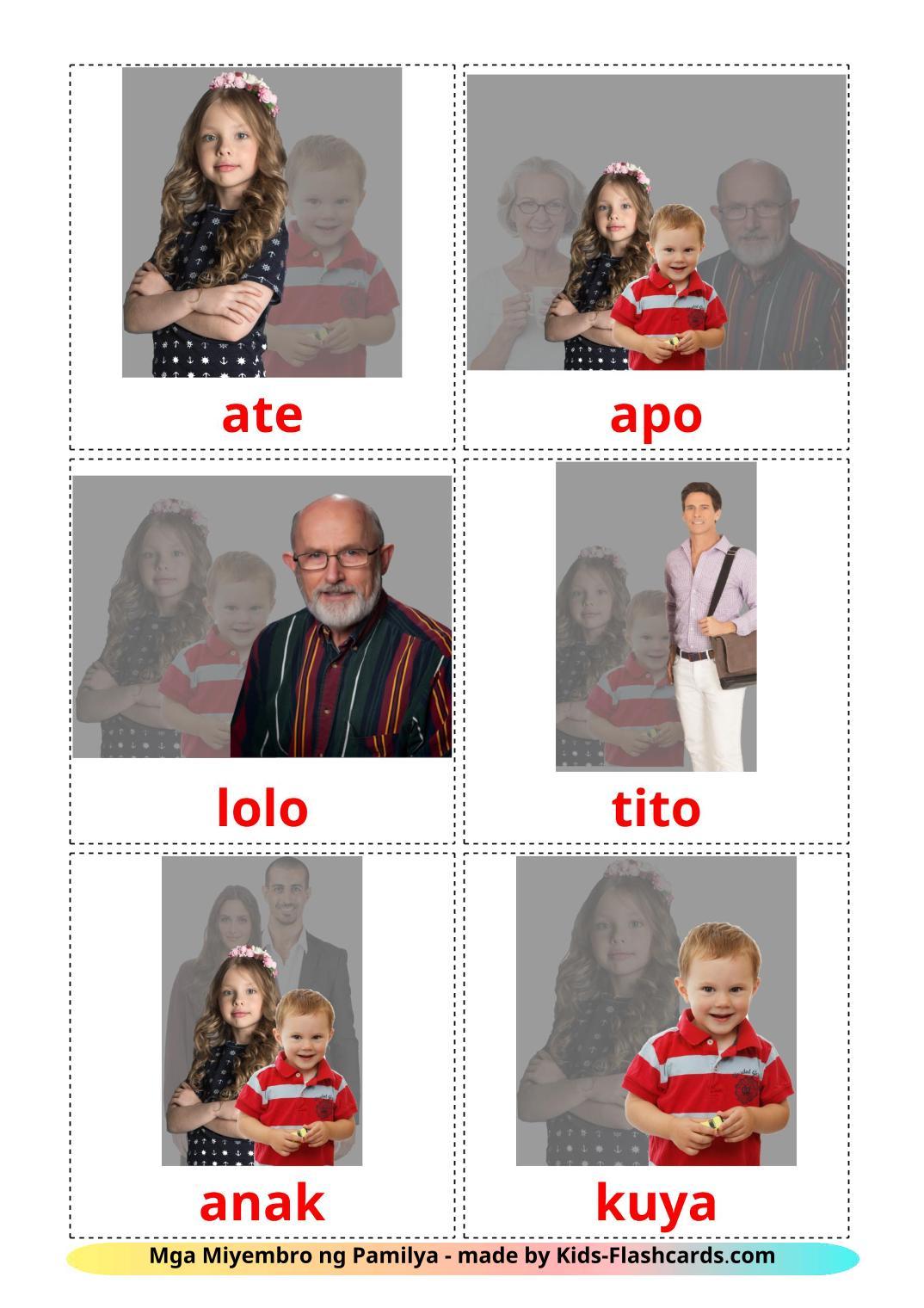 Family members - 32 Free Printable filipino Flashcards