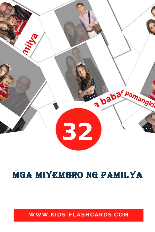 32 Mga Miyembro ng Pamilya Picture Cards for Kindergarden in filipino
