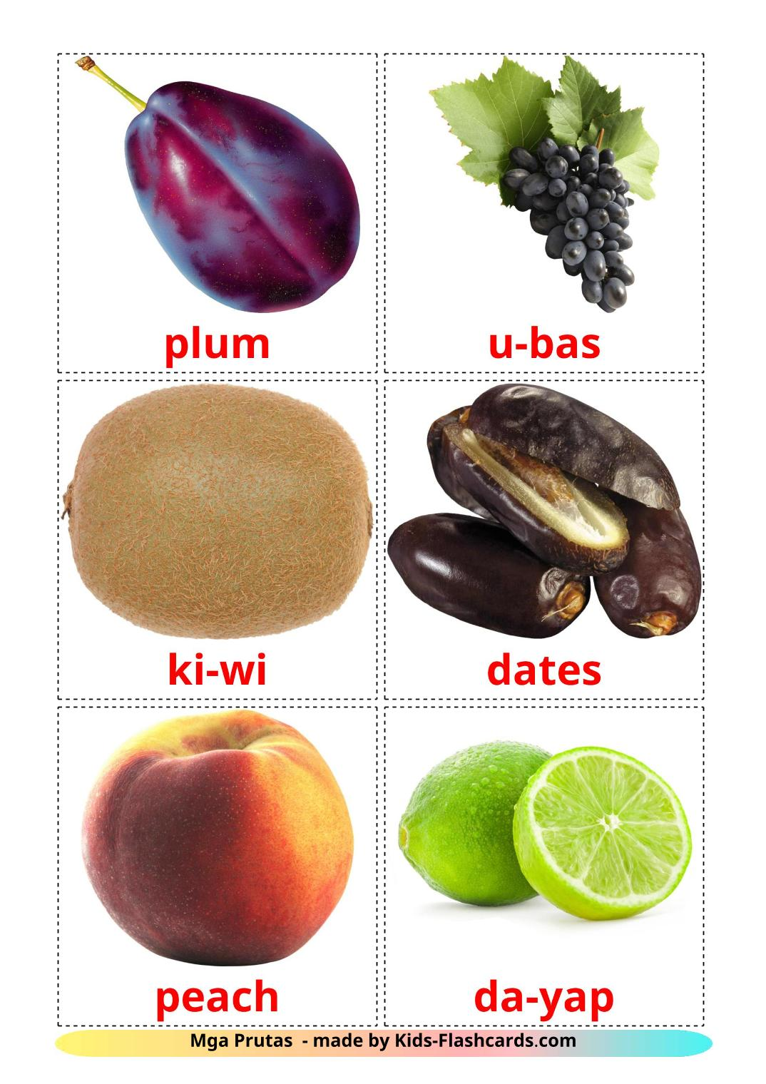 Fruits - 20 Free Printable filipino Flashcards
